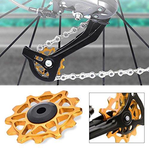 Tbest Fahrrad Schaltwerke Schaltwerkröllchen Schaltröllchen 12T Jockey Wheels MTB Fahrrad Riemenscheibe Roller Wheel für Mountain Bike, Road Bike (Gold)
