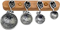 Crosby & Taylor Vineyard Pewter Measuring Spoon Set on Cherry Wood Display Strip