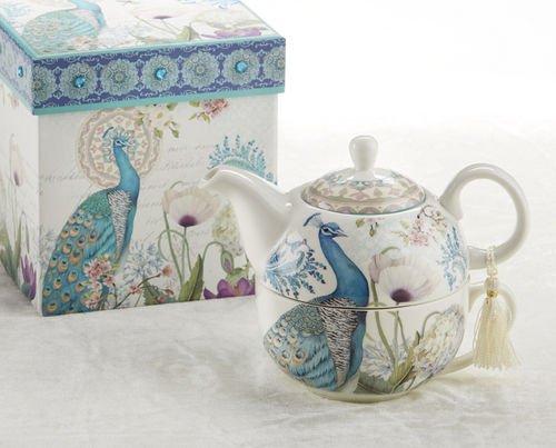 Delton Porcelain Tea for One in Gift Box, Peacock