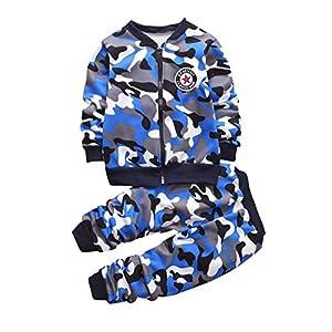 Loveablely Zweiteiliges Set für Kinder Langarmhosen Jungen Baumwolle Camouflage Hübscher Mantel Alter 2-6Y