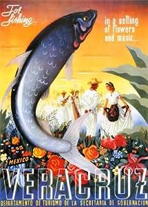 """Mexique Veracruz """"pour la pêche"""" Vintage Poster de voyage de publicité d'impression"""