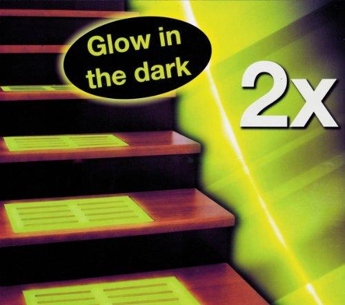 2x STUFENMATTE 39x17cm fluoreszierend grün Leuchtmatte Stufenauflage Gummimatte