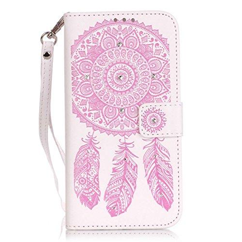 iPhone 8Plus custodia a portafoglio, Ledowp Apple iPhone 8Plus Bling Luxury Crystal Diamante in pelle PU a portafoglio, custodia full body campanula modello design custodia magnetica staccabile slot White Pink