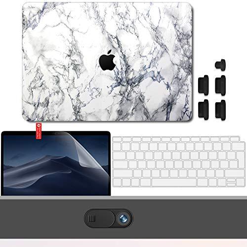 GMYLE Hülle für MacBook Air 13 Zoll A1932 2018 mit Touch-ID Schutzhülle Hartschale Cutout Logo Cover, Webcam-Cover, Displayschutzfolie, Anti-Staub-Port-Stecker, Tastaturschutz (EU) - Weißer Marmor