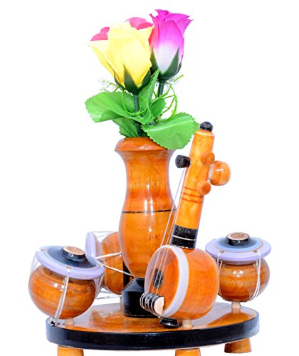 Inikao Flower Vase Cum Pen Stand In Music Set Shape On Wood
