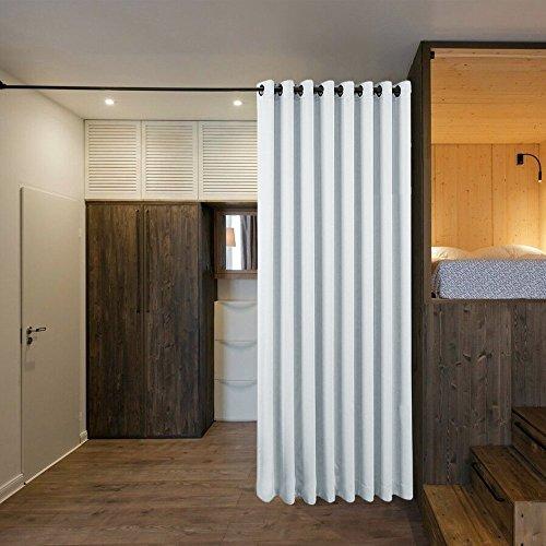 Cortinas Blancas Gris Opacas Terimicas - PONY DANCE Cortina Divisoria de Hotel Oficina Comedor Dormitorio Sala, 243 x 457 cm (Al x An), 1 Panel