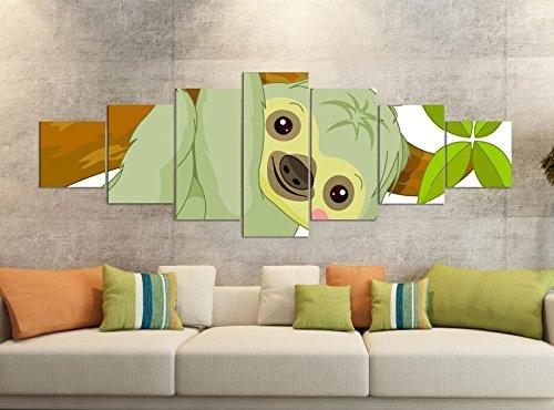 Leinwandbilder 7 Tlg 280x100cm Kinderzimmer Cartoon Faultier Tier Ast Baum Afrika Leinwand Bild Teile teilig Kunstdruck Druck Vlies Wandbild mehrteilig 9YB1612, Leinwandbild 7 Tlg:ca. 280cmx100cm