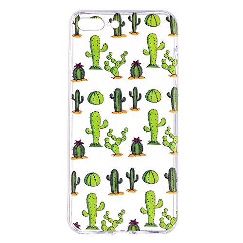 iPhone 7 Plus Custodia Transparente, iPhone 7 Plus Cover Silicone, JAWSEU Super Sottile Crystal Chiaro Custodia per Apple iPhone 7 Plus Bumper Corpeture Case Creativo Disegno Antiurto Anti-scratch Sho Cactus
