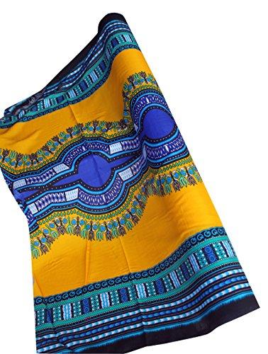 Licht Kostüm Bolt - raanpahmuang Licht Viskose Bold Afrika Boubou Dashiki Rayon Stoff 42in x 3yd Bolt Standard gelb