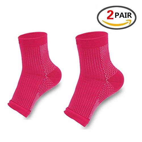 (2Paar) Plantarfasziitis Socken mit Arch Support, Best 24/7Fuß Pflege Kompression Ärmel, besser als Nacht Splint, lindert Schwellungen & Fersensporn, Fußgelenkstütze, Steigert die Durchblutung, lindert Schmerzen Schnell, Rose Red S/M (Women 2- 5.5 / Men 5.5- 8.0) 2PAIRS (Hose Nylon Runner)