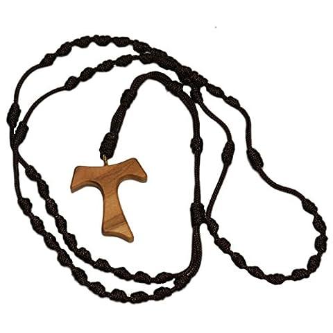 Chapelet en tissu - collier chapelet avec croix Tau en bois d'olivier - chapelet avec des noeuds