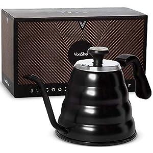 VonShef 35 Oz Schwanenhals Gießkanne über Wasserkocher mit Thermometer für Kaffee Tee Edelstahl matt schwarz mit Geschenkbox