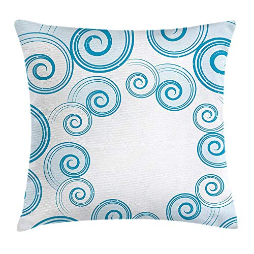 e Throw Pillow Cushion Cover, Ocean Waves Inspired Design with Abstract Blue Swirls Water Sea Spirals, Decorative Square Accent Pillow Case, 18 X 18 Inches, Blue White ()