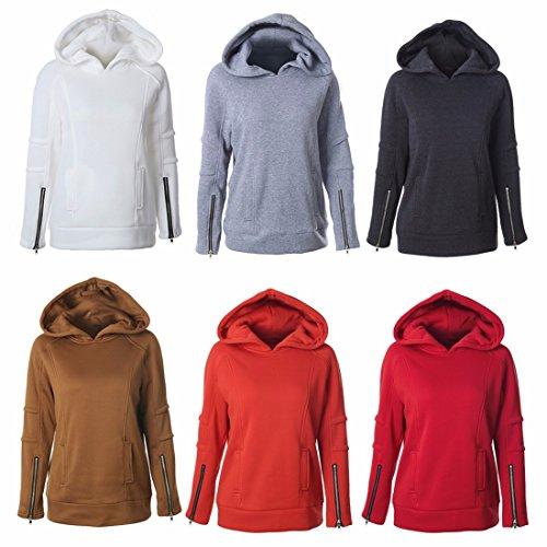 Manches Longues Zipper Jersey Uni Coton Ouaté Sweatshirt Pull Activewear Coat Rouge