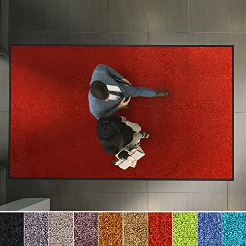 etm Hochwertige Fußmatte | schadstoffgeprüft | bewährte Eingangsmatte in Gewerbe & Haushalt | Schmutzfangmatte mit Top-Reinigungswirkung | Sauberlaufmatte waschbar & rutschfest (90x150 cm, Rot)