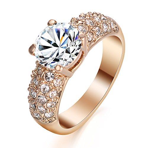 Yoursfs Pakistan Stil Gold Ringe Synthetisch Diament mit 18K Gold VergoldeteValentinstage-oder Geburtstagsgeschenk