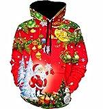 Kapuzenpullover URSING Unisex Damen Mans Weihnachten Weihnachtsmann Schneemann Hoodies Tops Hoodie Sweatershirt Pullover Weihnachtspullover Weihnachtsbluse Kapuzenpulli Kapuzenjacke (ROT, L)