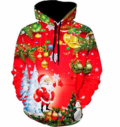 *Kapuzenpullover URSING Unisex Damen Mans Weihnachten Weihnachtsmann Schneemann Hoodies Tops Hoodie Sweatershirt Pullover Weihnachtspullover Weihnachtsbluse Kapuzenpulli Kapuzenjacke (ROT, L)*