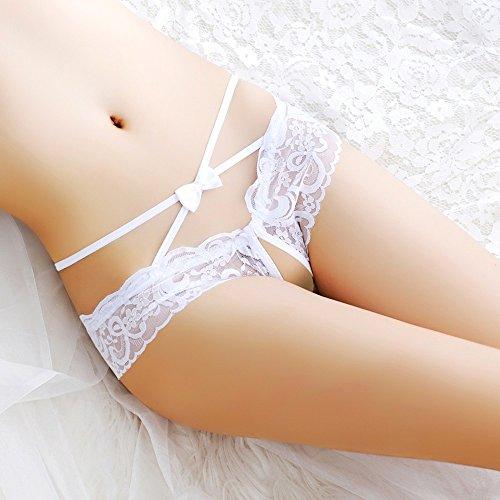 LTHH Spitzen Bug Knoten sexy Triangle Hose, Meine Damen, sexy, offenen Schritt Slips charmant - Bikini Bottom Locken,weiße