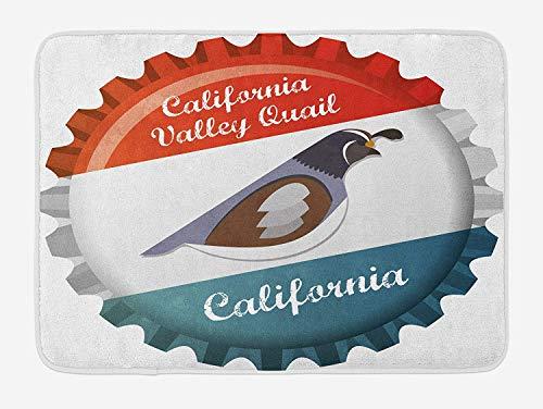 RAINNY Quail Bath Mat, California Valley Quail Graphic Style Bottle Cap Design Regional Animal State Bird, Plush Bathroom Decor Mat with Non Slip Backing, 23.6 W X 15.7 W Inches, Multicolor
