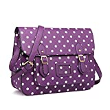 Miss Lulu Brand Vintage Designer MEDIUM Unisex Faux Leather Satchel Laptop Bag School Bag (Polka Dots Purple)