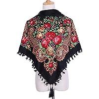 YsTmS Quadratische Mode Dekorative Schal Frauen Handgemachte Quaste Blume Design Schals Decke Schal Taschentuch 90 * 90 cm