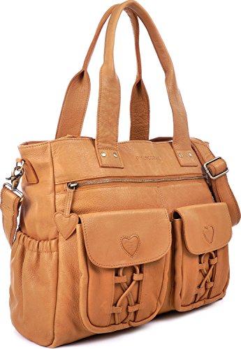 PHIL+SOPHIE, Cntmp, Damen XL Leder Wickeltaschen, Diaper Bags, Babytaschen, Buggy-Taschen, Leder Taschen, Schwarz, 40x35x11cm (B x H x T) Mustard
