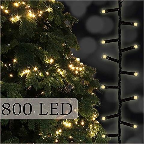 Catena di luci 800 LED, 16 + 3 m - Illuminazione per albero a luce bianca calda per alberi fino a 2,3 metri di altezza di Gartenpirat®