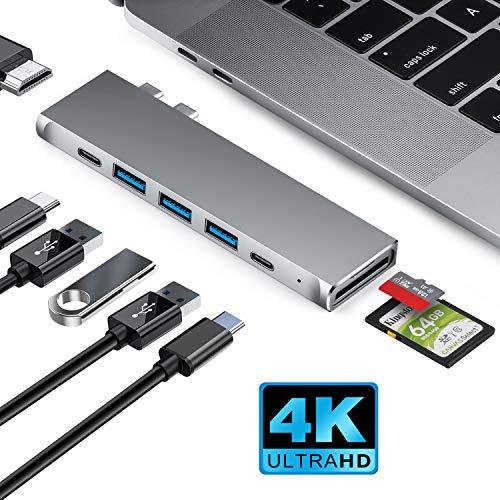 XYC USB C Hub, USB C Adapter mit HDMI 4K, Thunderbolt 3, 3 USB 3.0 Ports, USB-C Port, SD/TF Kartenleser, Typ C Hub Adapter für MacBook Pro 13\'\'&15\'\' 2019/2018/2017/2016, MacBook Air 2018(Space Grau)