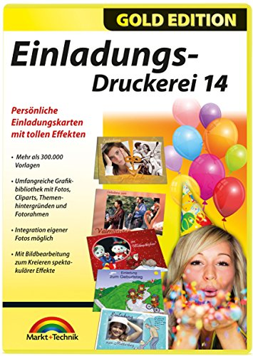 Einladungs Druckerei 14 - Gold Edition (Teen Party-einladungen)