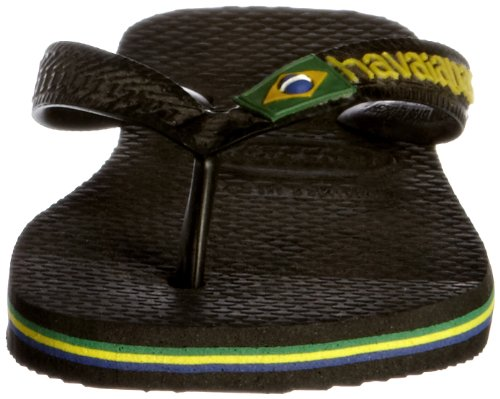 Havaianas Unisex-Erwachsene Brasil Logo Zehentrenner Schwarz (Schwarz Grün)