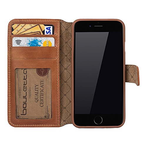 "Bouletta ""Ultimate Book"" Rustic Schwarz Apple iPhone 6 iPhone 6S 5.5 Zoll Leder Book Case Hülle Ledertasche Pouch Tasche Etui - Mit Kartenfach, Handarbeit, 100% Passgenau (Iphone 6 Plus / 6S Plus, Rus Rustic Cognac"