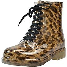 LvRao Mujer Boots Impermeable con Cordones de Zapatos Booties Corto de Lluvia Nieve Botas Casual de Jardín