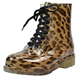 LvRao Damen Wasserdichte Schnürschuhe Kurz Boots Schnee Regen Booties Casual Garten Stiefel Gummistiefel Leopard Europäische Größe 39