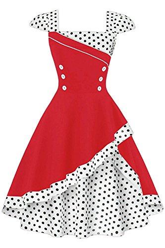 MisShow Damen 50er Hepburn Vintage Rockabilly Kleid Partykleider Petticoat Swing Ärmellos Knielang (50er Süßes Jahre Kostüme)