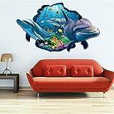 MEIJING Halloween Horrible 3D Dolphin Aquarium Ozean Unterwasser Sea World-Wand-Aufkleber-Ausgangsdekoration Kunst-Wand Tapete Kinderzimmer Wand Loch Ziegelbruch -Dekor 3D-Poster