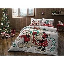 Original Juego de Funda de Edredón, diseño de Disney Mickey y Minnie Año nuevo Blanco Verde, Para Cama Doble, 100% algodón, 4 Piezas (funda de edredón + sábana ajustable + 2 funda almohada)
