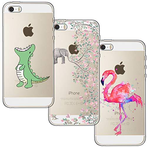 [3 Stück] iPhone 5 Hülle, iPhone 5S Hülle, iPhone SE Hülle, Blossom01 Cute Funny Kreative Cartoon Transparent Silikon Bumper für iPhone 5 / 5S / SE - Krokodil & Elefant Blumen & Flamingo - Iphone Bumper 5 Schwarz Case