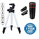 #5: captcha Super Light Universal Travel 3110 Portable and Foldable Tripod with 12x Telephoto Lens for Smartphones (Multicolour, 3110.Stand+12xTelescope)