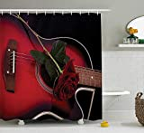 ADAM MARTINEZ JR Red and Black Shower Curtain, Spanish Musician Portugal Hand Made Guitar with Romance Theme Love Rose, Fabric Bathroom Decor Set with Hooks, 75 inches Long, Ruby and White