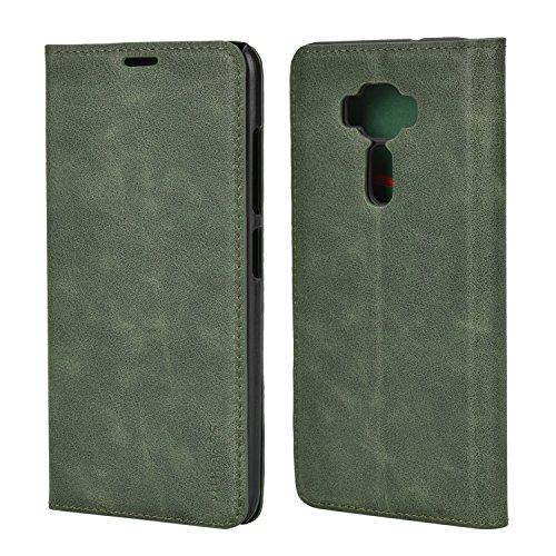 Mulbess (Slim Style) Premium Handy Schutzhülle Ledertasche im Kartenfach für Asus ZenFone 3 ZE520KL 5.2 Tasche Hülle Leder Etui Schale,Grün