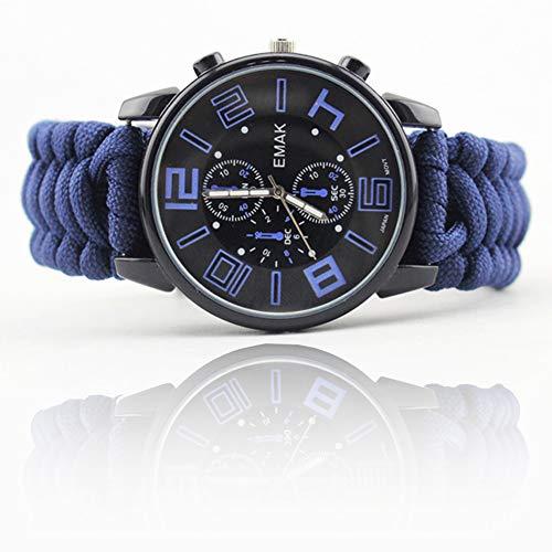 Survival Survival Watch Outdoor-Multifunktions-Leuchtkompass Regenschirm Seil Sport Flint Lebensrettende wasserdichte Sport Large Dial-Blue