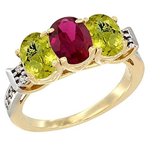 14 ct Gelbgold Enhanced Ruby & Natural Lemon Quarz Ring Ehering 7 x 5 mm Oval Diamant Accent, Größe (Enhanced Natural)