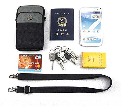 KISS GOLD (TM) wasserabweisende Hüfttasche Waist Bag Handytasche mit Karabiner & zwei Reißverschluss Taschen für Sport schwarz+blau