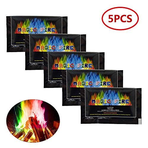 Magic fiamme, Kobwa 5confezioni Rainbow Fire design Fire pacchetti per crea vibrante, Rainbow Colored FLAMES per tronchi