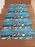 SHASHA Treppen-Teppich Treppenstufen Rechteck Antirutsch-Teppich Treppenmatten Teppiche Pads Laufflächen Grünes Anti-Rutsch-Treppenpolster