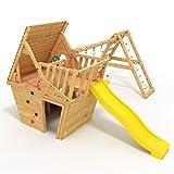 BIBEX® Spielturm - Wunderhäuschen + Rutsche, 2xSchaukel, Knotennetz, Klettersteine, Möbel Gelbe Rutsche/Schaukel