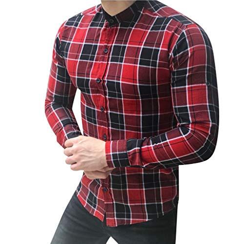 DNOQN Sport Poloshirt Herren Herren Langarm Gitter Plaid Malerei Patchwork Große Größe Top Bluse Shirts L