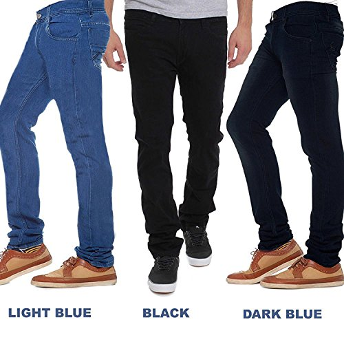 Stylox Stylish Regular Slim Fit Pack Of 3 Cotton Jeans For Men-Light...