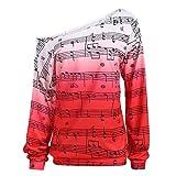 OSYARD Damen Hinweis Druck Bluse Schulterfrei Trägerlos Sweatshirt, Mode Frauen Schulterfrei Hinweis Print Langarm Pullover Shirt Top Bluse Kleidung (S, Rot)